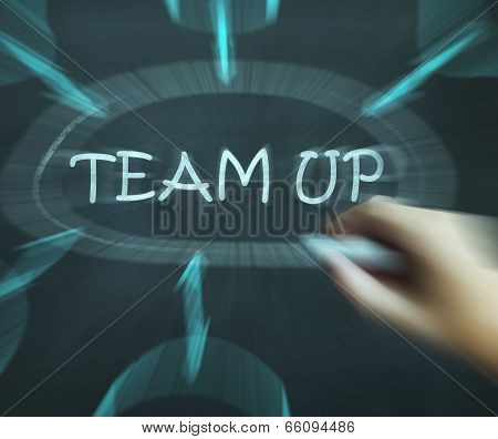 Team Up Diagram Means Partnership And Joint Forces