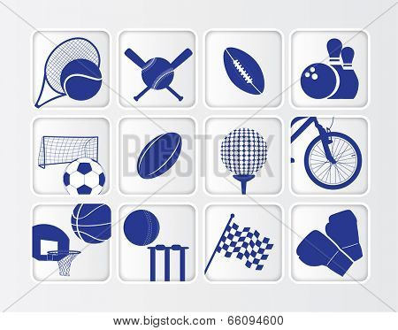 flat blue button sports ball series on white background