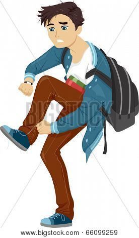 Illustration of a Male Teen in a Rush to Get to School