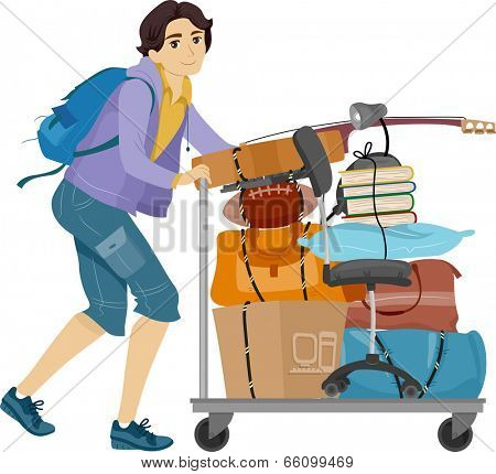 Illustration of a Male College Student Moving into the Dormitory