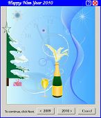 Bottle of champagne with a glass against a New Year tree and snowflakes poster