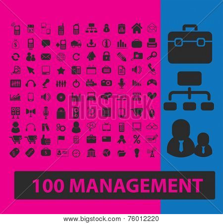 100 management, marketing, retail, organization icons, signs, illustrations set, vector