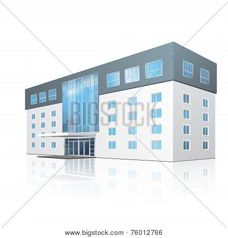 School Building With Reflection And Input