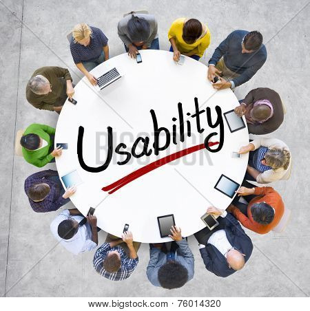 Aerial View of People and Usability Concepts