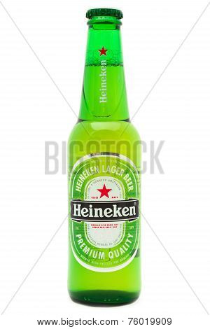 Bottle Of Heineken Lager Beer On White Background