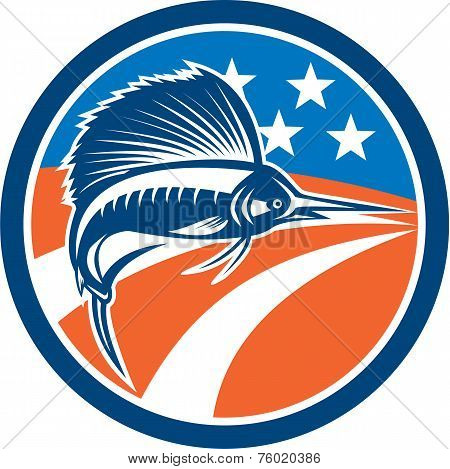 Sailfish Fish Jumping American Flag Circle Retro