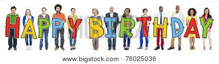 Multi-Ethnic Group of People Holding Text Happy Birthday poster