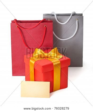 gift box with  ribbon and gift card on white backgroun
