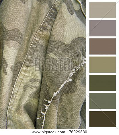 poster of closeup of the camouflage cloth complimentary color chart selection