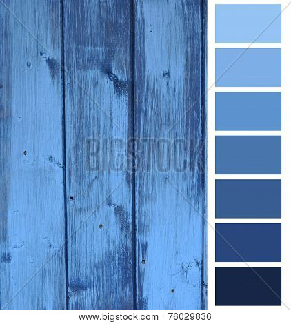 closeup of the wooden plank blue color selection poster