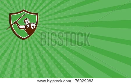 Business Card Javelin Throw Track And Field Athlete Shield