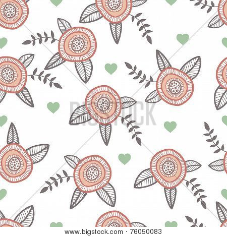 Graphic hand drawn flowers. Catoon style illustration with hearts