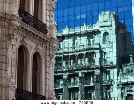 Modern and Old Buildings reflections