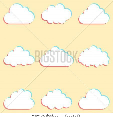 clouds set with colored edges and icons for cloud computing for app and web. vector illustration poster