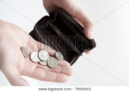 Pouring Coins Into Empty Wallet