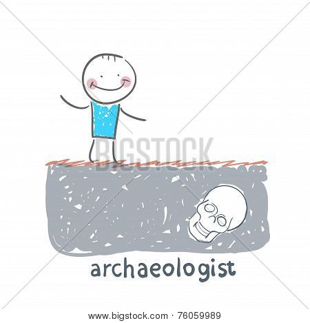 archaeologist stands on the site where the skull buried