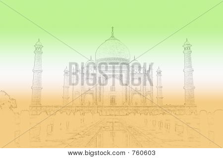 Taj Mahal background with indian flag