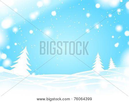 light blue winter forest background
