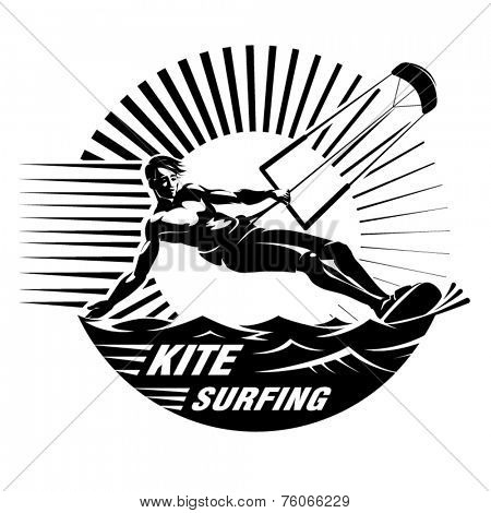 Kite surfing. Vector illustration in the engraving style