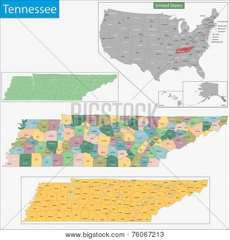 Map of Tennessee state designed in illustration with the counties and the county seats