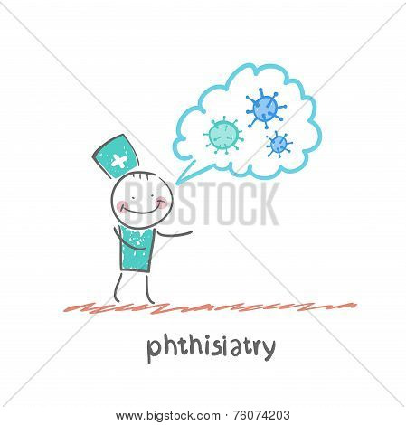 phthisiatry . Fun cartoon style illustration. The situation of life. poster