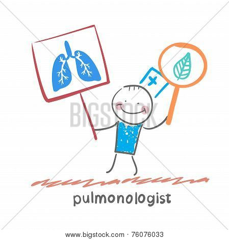 pulmonologist holding posters with the image of the lungs