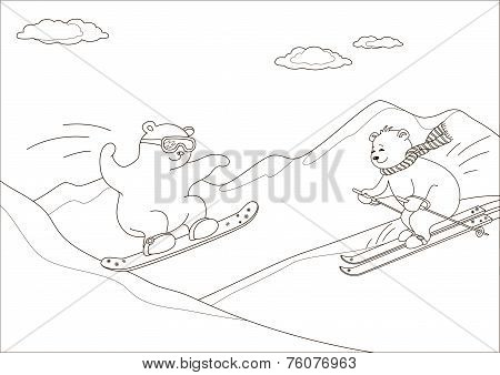 Teddy bears go for a drive on a snowboard and skis against mountains, contours poster