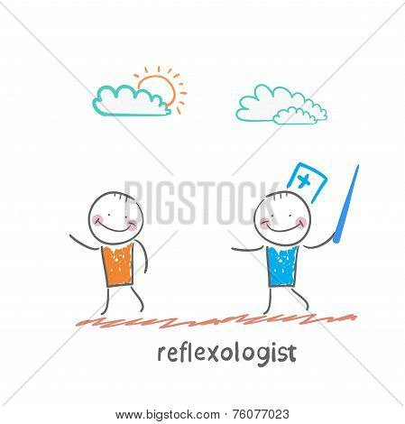 reflexologist with a needle catches patient