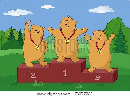 Teddy bears sportsmans, contours