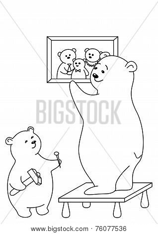 Teddy-bears father and the son attach a picture on a wall, contours. poster