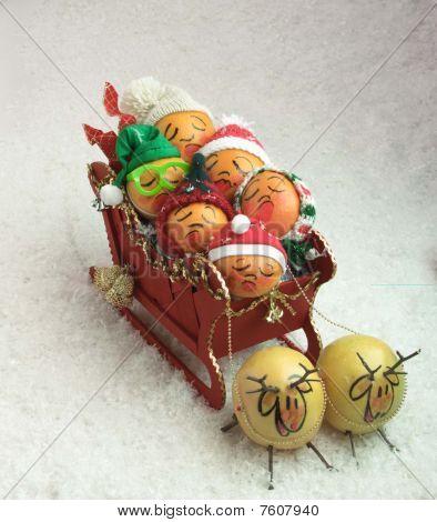 sleigh full of fruit