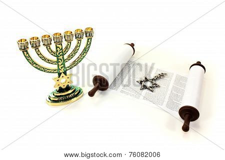 Torah Scroll With Menorah And Star Of David