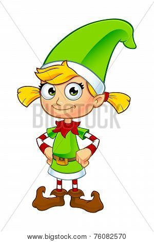 Girl Elf Character In Green