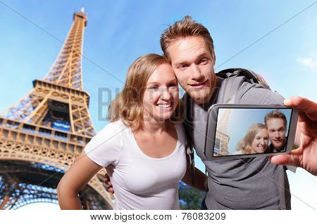 Happy Couple Selfie In Paris
