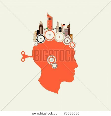 Silhouette head with key men in the back