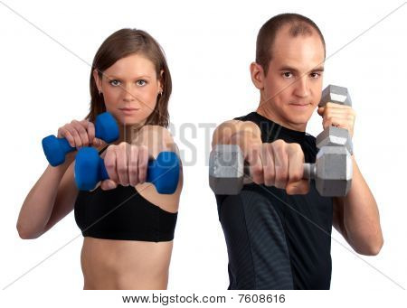 Couple With Dumbells And Attitude
