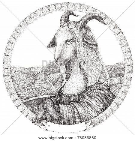 Goat - Mona Lisa. Symbol New Year Goat