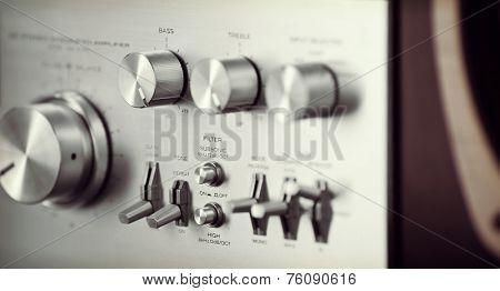 Vintage Stereo Audio Amplifier Front Panel Volume Knob Closeup
