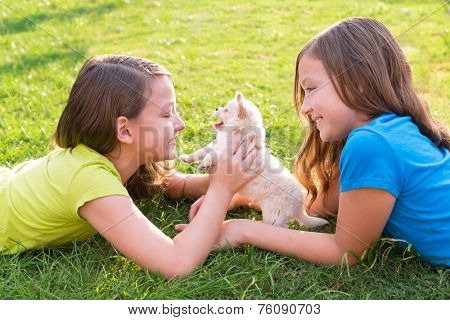 twin sister kid girls and puppy dog happy playing with pet lying in backyard lawn