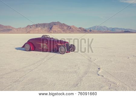 WENDOVER, UT - AUGUST 9: High speed car on the Bonneville Salt Flats during Bonneville Speed Week on August 9, 2012 near Wendover, UT.