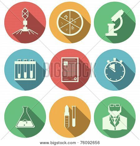 Flat vector icons for microbiology