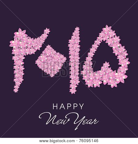 Beautiful pink flowers decorated Urdu calligraphy of text Happy New Year 2015 on purple background.
