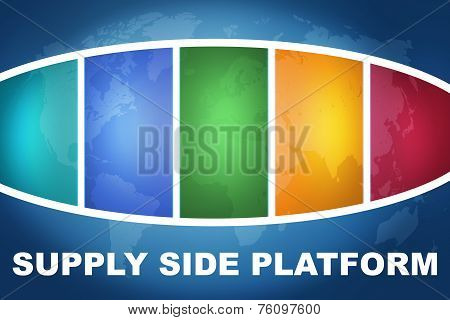 Supply Side Platform text illustration concept on blue background with colorful world map poster