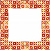 Seamless geometric yellow and red ethnic patchwork frame poster