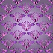 Vector filigree damask seamless with butterfly. Royal wallpaper. poster