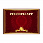 Horizontal old certificate with a laurel wreath on a dark red background poster