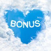 bonus word on blue sky inside love heart cloud form poster