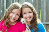 Twin sisters and puppy pet dog chihuahua playing together with doggy poster