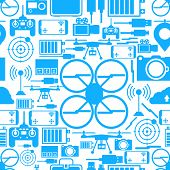 Blue silhouette quadrocopter set elements on white background. Seamless vector pattern. poster