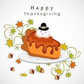 Delicious cake with bird in pilgrim hat on maple leaves decorated grey background for Happy Thanksgiving Day celebration. poster